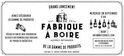 Invitation au grand lancement de la Fabrique à Boire