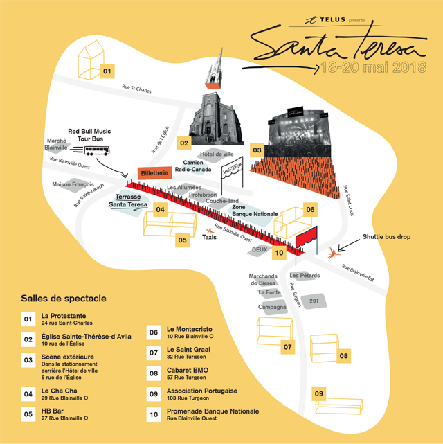 Festival Santa Teresa - Plan du site